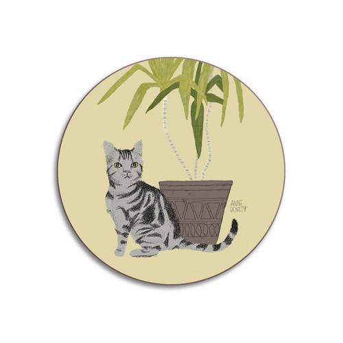 Glass coaster, cat Tabby (Avenida Home)