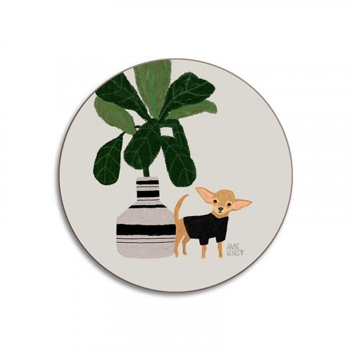 Glass coaster, dog Chihuahua