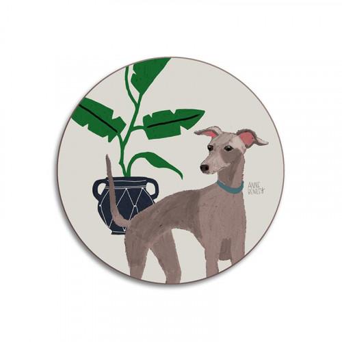 Glass coaster, dog Whippet