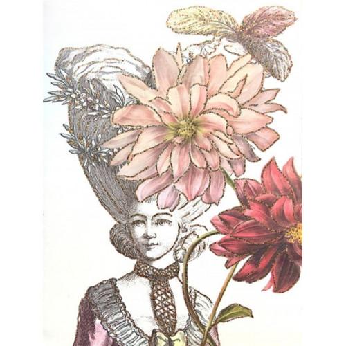 Carte fantaisie pailletée, Coiffure aux Dahlias (Vanilla Fly)