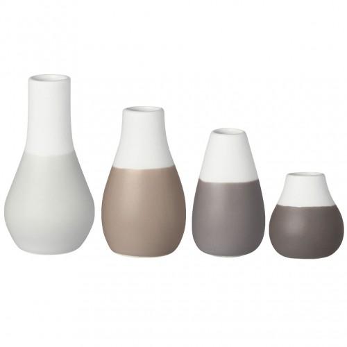 Set 4 mini vases soliflores gris (Räder)