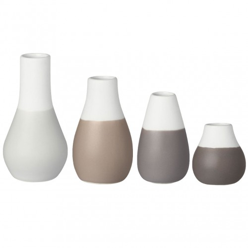 Set 4 mini vases soliflores gris (Räder)