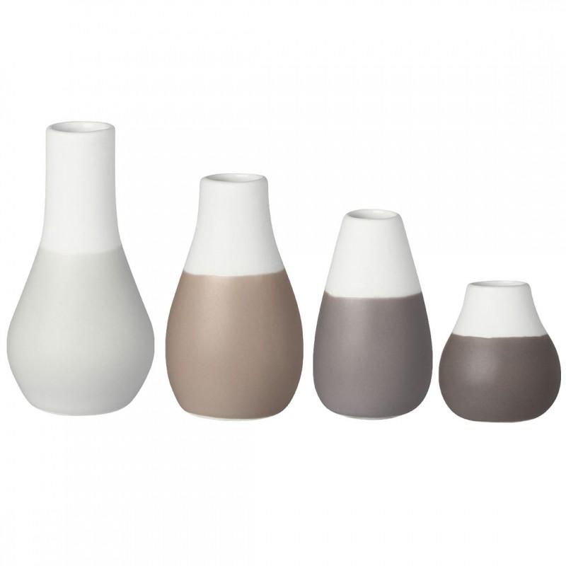 Set de 4 mini vases soliflores gris (Räder)