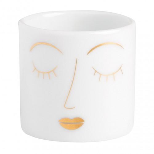 Mini photophore en porcelaine Visages (Räder)