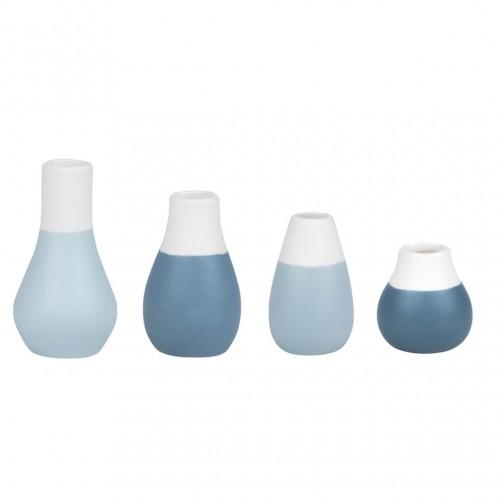 Set of 4 little vases, greywish blue (Räder)