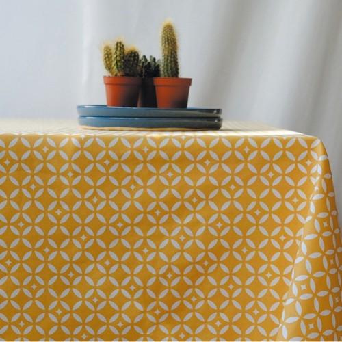 Tissu coton enduit Mosaïques rouge (Fleur de Soleil)
