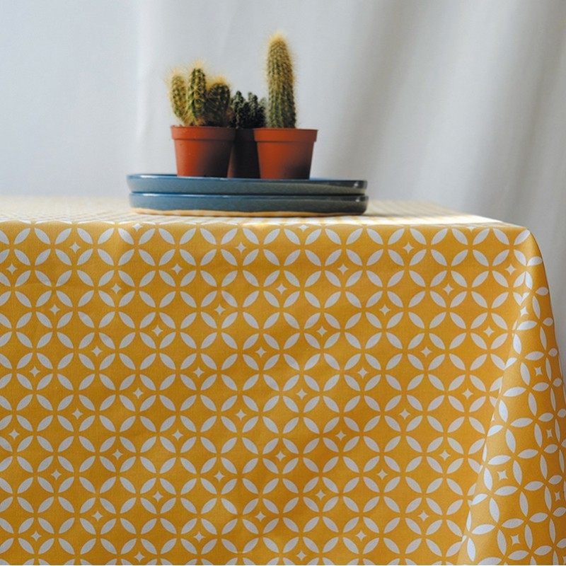 Coated fabric, Yellow mosaïc (Fleur de Soleil)
