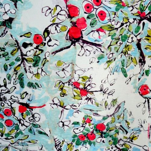 Tissu coton enduit, Pomme d'api cyan (Lalie Design)