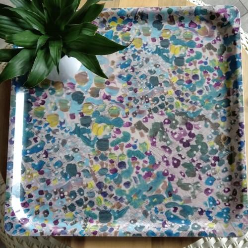 Tray wood & melamine, blue Papagai (Lalie Design)
