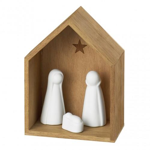 Petite crèche en bois et porcelaine Nativité (Räder)