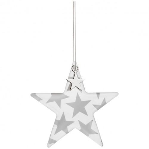 Etoile de Noël en verre, étoiles argentées (Räder)