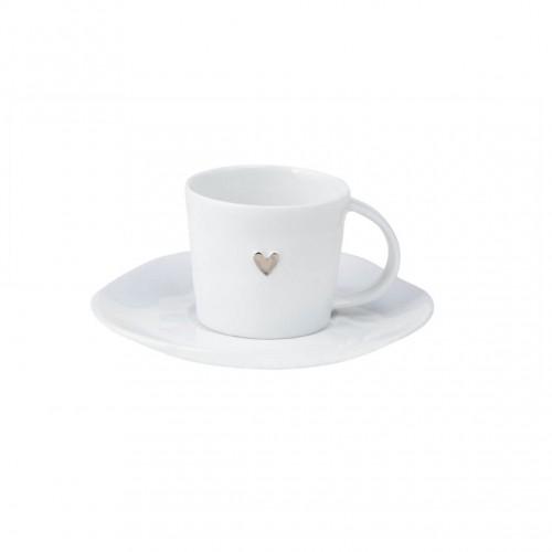 Tasse à café et sous-tasse coeur argenté (Räder)
