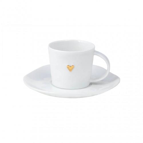 Tasse à café et sous-tasse Coeur doré (Räder)