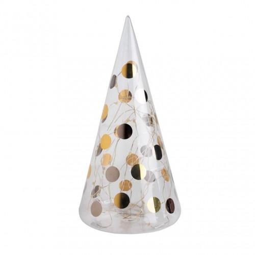 Sapin de Noël verre lumineux, Pois dorés et argentés (Räder)